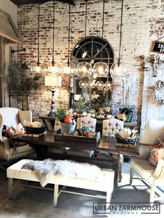 Get the farmhouse look at Urban Farmhouse! Farm tables, lighting, deconstructed chairs and accessories.