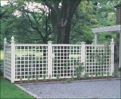 Lattice Screen - Options for Lattice Panels can include screening an area. Shown here, the panel effectively separates a driveway from a patio.