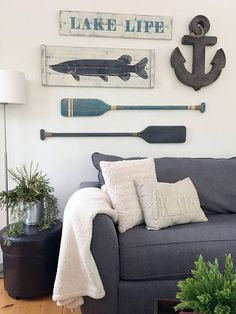 LAKE LIFE SIGN, beach life, nautical signs, lake house decor, beach house decor, large nautical art, nautical gallery wall #ad