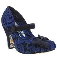 If intricate detailing and rich colours are your thing, we think you'll Fancy This Crochet Irregular Choice. The beautiful navy high heel features cobalt blue lace with sweet bow detailing and a hook-and-loop fastened strap. A 10cm block heel finishes.