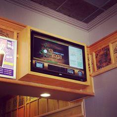 Yay!  Ra on the tv at CBTL  <3 #rayoga rayoga.com