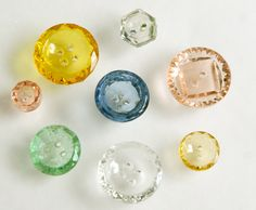 """Glass Button Lot - 8 Colored Transparents - Mixed Sizes - 3/8"""" to 3/4""""."""