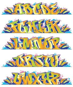 "Illustration pour le livre ""Street Fonts"" – Graffiti alphabets from around t… Illustration zum Buch ""Street Fonts"" – Graffiti-Alphabete aus aller Welt Graffiti Designs, Graffiti Alphabet Styles, Graffiti Lettering Alphabet, Graffiti Writing, Tattoo Lettering Fonts, Graffiti Tagging, Graffiti Styles, Lettering Design, Calligraphy Alphabet"