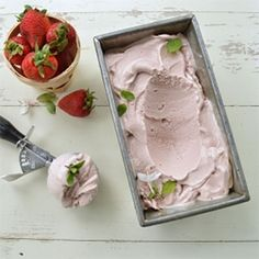Fresh Strawberry Mint Ice Cream made with Coconut Milk - Gluten Free, Vegan, Low Carb, Nut Free