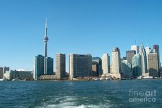 Cn Tower Toronto View From Centre Island Downtown Panorama Improvised With Graphic Artist Tools Pain Mixed Media