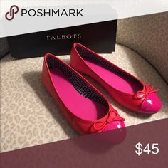 """Talbots JALAIK Flat in """"Tomato"""" 8M. Lightly used. Fabulous fun color...great condition!!! Only walked in once! 8M. Talbots Shoes Flats & Loafers"""