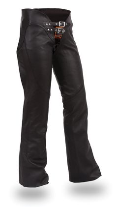 Womens Double Belted Leather Motorcycle Chaps - Adjustable Fit, Black Size L
