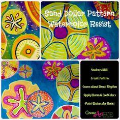 Sand Dollar Pattern Watercolor Resist Lesson