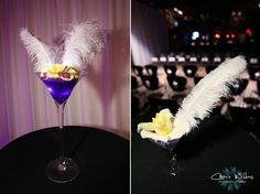 This fun feather martini center piece mixes things up a bit from your traditional floral center pieces. Unique Wedding Centerpieces, Wedding Table Decorations, Floral Centerpieces, Unique Weddings, Maine, Carrie, Flower Bouquet Wedding, Perfect Wedding, Blog