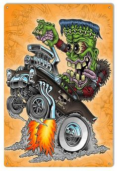 Hot Rod Skull Garage Art Metal Sign By Britt Madding 12x18 – Laughing Dog Signs