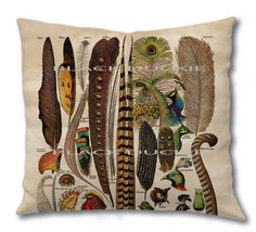 Fall Bird Feathers Pillow  Double Sided Bird by TheBlackDuckie