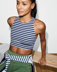 New Balance for J.Crew performance crop top in stripe, in-transit pullover in stripe, and performance capri leggings.