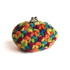 リフ編みのマルチカラーがま口(パープル・小)- 編み物キットオンラインショップ・イトコバコ