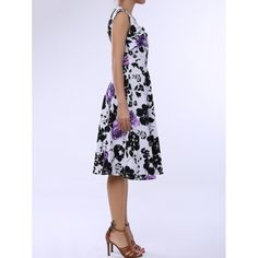 22.39$  Buy now - http://dixao.justgood.pw/go.php?t=168190807 - Retro Style Square Neck Sleeveless Flower Pattern Women's Dress