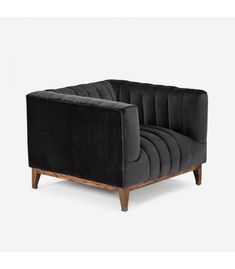 The Astoria velvet charcoal armchair featuring its channel-stitching in high-quality velvet upholstery creates a surface that is both visually striking and remarkably comfortable. Its high armrests add contemporary flair, making it perfectly luxurious. Water Based Stain, Velvet Armchair, Love Seat, Charcoal, Upholstery, Lounge, Couch, Contemporary, Living Room