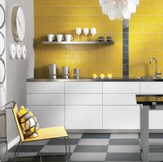Honey Bee Kitchen Decor With Yellow Wall Tile