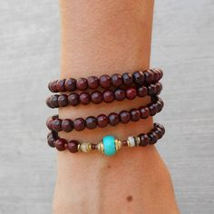 Necklaces - 108 Bead Mala Necklace Or Bracelet, Rosewood And Turquoise Guru Bead