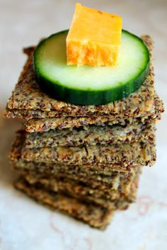 Just Like Wheat Thins Crackers 3/4 cup flax meal 3/4 cup almond flour 2 egg whites 2 Tbsp. nutritional yeast 1 Tbsp. parmeasan cheese 1/4 tsp sea salt dash of black pepper, onion powder, and garlic powder 1 Tbsp olive or coconut oil 1/2 tsp baking soda