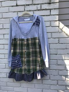 Upcycled eco hoodie tunic prairie plaid flannel country