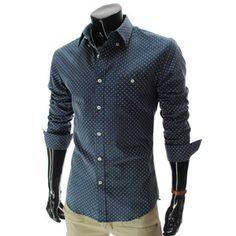 (HA214-NAVY) Slim fit Long Sleeve Dot Pattern Pocket Shirts