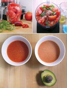 Watermelon and Avocado Gazpacho soup Tomato Gazpacho, Gazpacho Soup, Gazpacho Recipe, Vegan Soups, Detox Soup, Stuffed Jalapeno Peppers, Fabulous Foods, Soup And Salad, Diy Food
