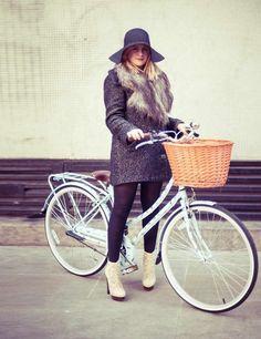 Amy Lawrenson, Senior Beauty Writer:    Monsoon hat, H coat, Charlotte Olympia platform boots, Green & Spring's 'Birdie' Bobbin Bicycle, £550
