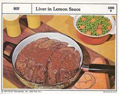 Liver in Lemon Sauce | Vintage Recipe Cards
