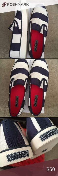 """NIB Sperry slip on Mariner sneakers Women's size 9. New, never worn, still in box. Navy and off-white striped """"mariner"""" sneakers by Sperry. Smoke-free home. Sperry Top-Sider Shoes"""
