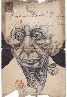 Portfolio - Mark Powell Biro Drawings - (Bic biro pen drawings on antiques envelopes, maps, and newspapers dating back to Biro Art, Ballpoint Pen Drawing, Pen Art, Mark Powell, Art Postal, Tumblr Art, Envelope Art, Creative Artwork, Art For Art Sake