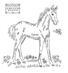 Free Hand Embroidery Transfers | Vintage Embroidery Transfer Patterns – Horses #vintageembroidery