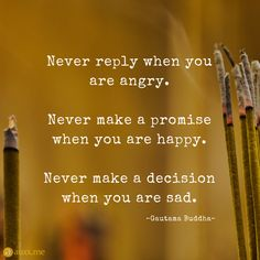 Never reply when you are angry. Never make a promise when you are happy. Never make a decision when you are sad. Morals Quotes, Quotable Quotes, True Quotes, Deep Quotes, Qoutes, Decision Making Quotes, Broken Promises Quotes, Promise Quotes, When You Are Happy