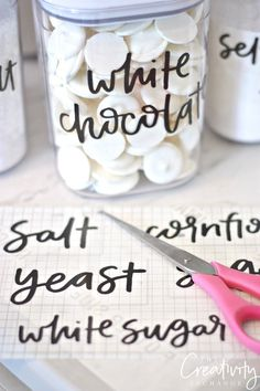 Free printable hand lettered pantry labels. The Creativity Exchange