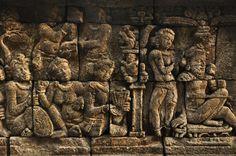 Relief at borobudur temple
