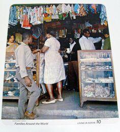 vintage mid century jumbo dual side poster card - Living in Kenya - 18 x 22 - 1960s. $10, via Etsy.