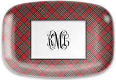 Red Plaid Melamine Platter