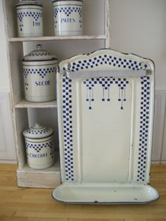 FRENCH ENAMELWARE GRANITEWARE blue and white by vintagefrenchstyle, $115.00