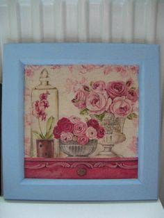 Virágos kép kék kerettel