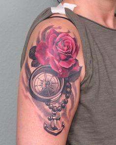 Ein klassisches aber sehr schönes #realismus Motiv gestochen von Misha R Tattooartist. Classical but yet beautiful #realistictattoo done by Misha R Tattooartist. #realistic #bngtattoo #bng_ink #instatats #germantattooers #tattoodüsseldorf #tattooartist #mishartattoo #rosetattoo #rosentattoo #kompastattoo #compass #kompass #ankertattoo #anker #anchor #anchortattoo #livingillustrations