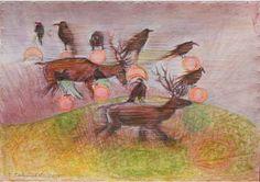 "Saatchi Art Artist Remigiusz Dobrowolski; Painting, ""Two deer, nine birds are expecting rain."" #art"