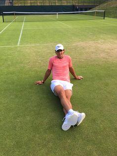 posing after a long hard practice at Wimbledon yesterday :) #BuenaSuerteRafa
