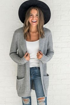 Gray crochet knit cardigan, cute outfit ideas for fall, fall outfit ideas for school, womens fashion 2017, cute outfits for teens