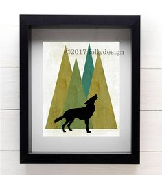 Artist Shanni Welsh's Woodland Wolf art print. Wolf and mountain poster. Wolf home décor. Wolf wall art. Lodge décor. Camping art. Gift for camper. Outdoor art.