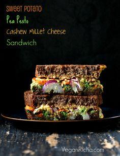 Vegan Grilled Nacho Cashew Millet Cheese, roasted Sweet Potato, Pea Pesto Sandwich