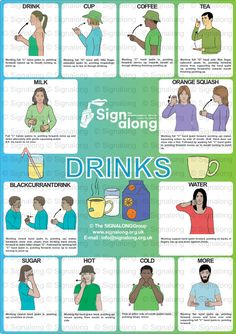 Drinks Poster, J) Posters, Signalong Store Sign Language Chart, Sign Language For Kids, Sign Language Phrases, Sign Language Alphabet, Learn Sign Language, British Sign Language, Makaton Signs, Kids Sleep, Baby Sign Language