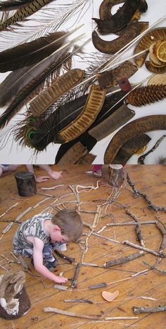 """Natural Materials Pebbles, twigs, feathers, shells, wood circles, seed pods, conkers, petals. Take the children out into the garden, the park or the woods to make their own fascinating collections. Fire their imaginations and yours with some of Nature's treasures!"" The Inspired Child ≈≈ http://www.pinterest.com/kinderooacademy/loose-parts/"