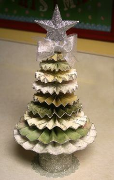 Christmas Tree made from paper pinwheels. Could also be made from fabric ruffles.