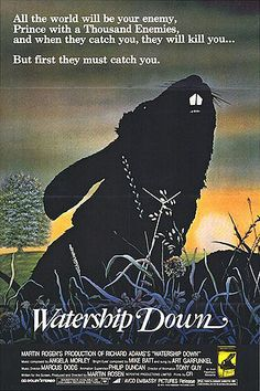 Watership Down (1978): You'd think a cartoon about cute fluffy bunnies would be a happy family flick.  But you'd be horribly, horribly wrong.  That being said, it's still a great British feature, with some influence from John Hubley before he passed away.  Click for the disturbing trailer...