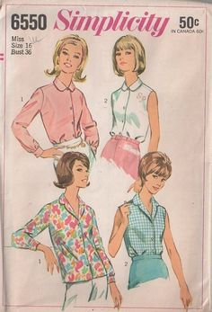 MOMSPatterns Vintage Sewing Patterns - Simplicity 6550 Vintage 60's Sewing Pattern DANDY Retro Housewife Easy Casual Collared Shirt, Blouse Set, Tuck In or Wear Out