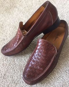 COLE HAAN Men's Brown Slip On Leather Woven Shoes Size 11 M