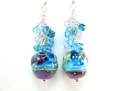 Lampwork Earrings Turquoise Blue Plum Purple by GlassRiverJewelry, $42.00